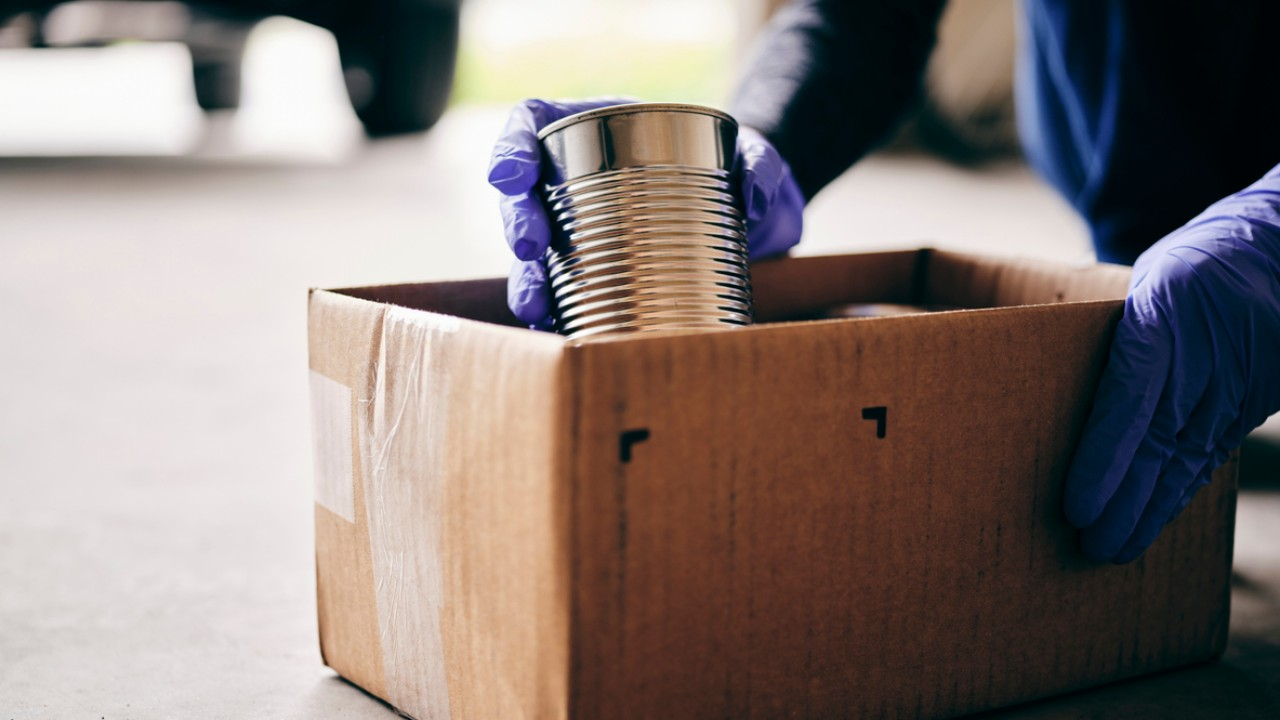 food bank box with can donations
